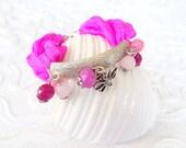 Raw Silk  Fuchsia Quartz Precious Stones Silver-Plated Bracelet