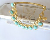 Turquoise Gemstone, Gold Plated Bracelet