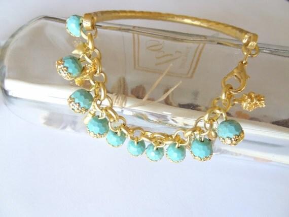 Turquoise Gemstone, Gold Plated Bracelet