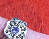 Goldflash Marcasites and Amethyst Sterling Flower Power Size 8: A Stunner of a Floral Ring// Perfect Gift// Light Vermeil Wash