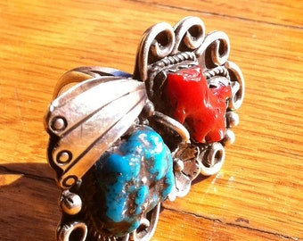 Navajo Turquoise and Red Coral Gorgeous Vintage Bad Ass Honker of a Sterling Silver Ring : Size 8