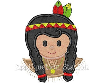 Indian Girl Thanksgiving Applique Machine Embroidery Design harvest Fall INSTANT DOWNLOAD