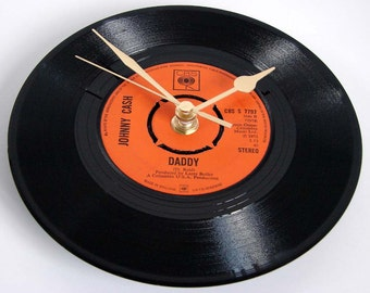 """Johnny Cash Vinyl Record CLOCK """"DADDY"""" 7"""" single. Unique gift for dads everywhere..."""