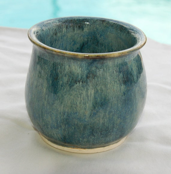 Small Vase, Jar or Pensil Holder in Mottled Blues from Pottery By Saleek
