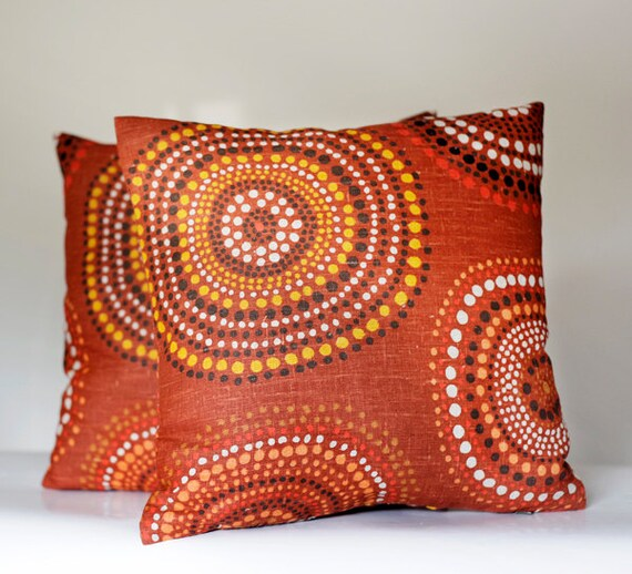 2 Linen throw pillow covers set for home decor - brown orange bohemian style - designer fabric - shams - 16x16