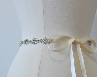"Ready To Ship - Rhinestone encrusted bridal belt, Crystal Belt, Bridal Sash 14""-36"""