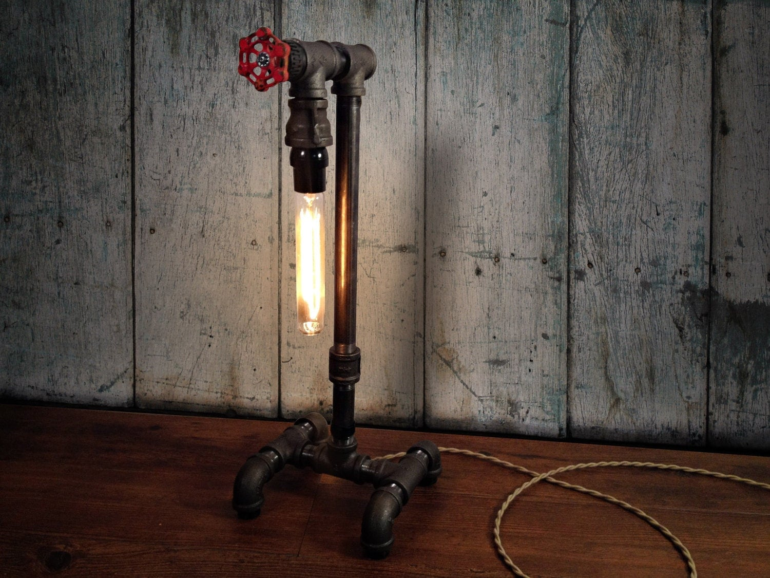 Edison table lamp industrial lighting steampunk decor for How to make an industrial lamp