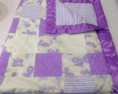 Butterfly Baby Quilt Blanket Purple Yellow