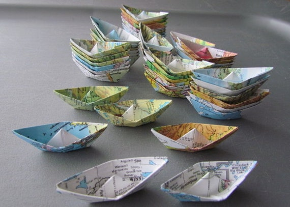 reserved listing for Judy: paper boat origami 48 boats decoration nautical theme ocean party maps atlas