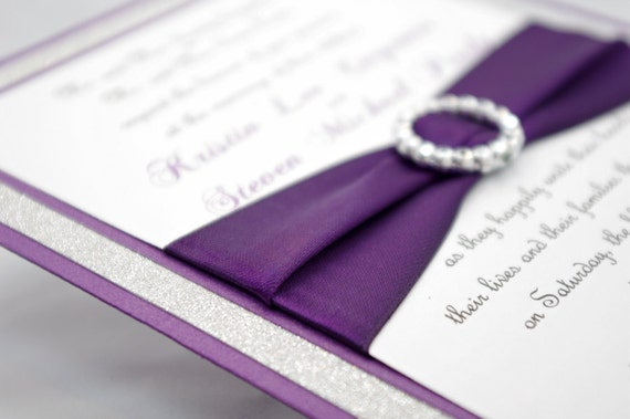 Wedding Invitations With Purple Ribbon: Stunning Purple & Silver Glitter Wedding Invitation By