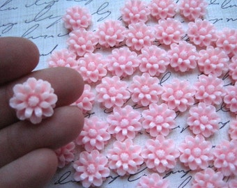 Pink Resin Flower, Flower Cabochon, Resin Cabochon Flat Back 12mm, 20 pcs, Perfect for rings and earrings