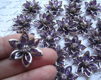 Dark Purple Rhinestone Flower Cabochon / 3 to 25 pcs Flat Back Rhinestone Flowers / 24mm
