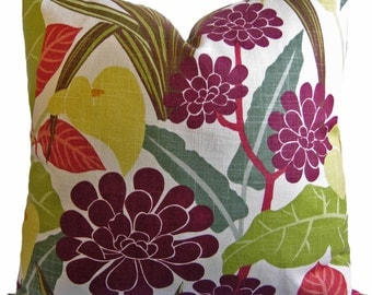ON SALE - 25% OFF - Floral Pillow Cover - Decorative Floral Pillow Cover in Reds, Greens & Browns - Accent Pillow - Throw Pillow