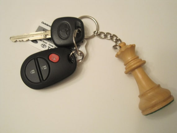 White Queen Chess Piece Keychain - Upcycled