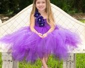 Purple flower girl tutu dress, handmade flowers, Flower girl dress, tutu dresses, Wedding