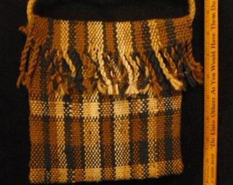 Handwoven brown plaid purse