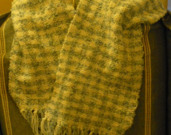 Handwoven  blue boucle and white scarf