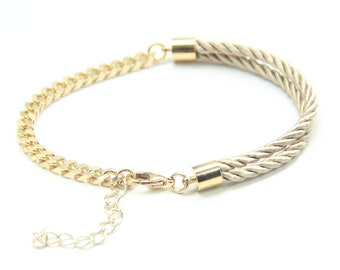 Arm candy - mini Half and Half: Gold chunky chain and Beige silk Bracelet