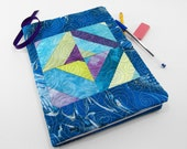 Composition Notebook Cover, Quilted Fabric Journal - Turquoise, Aqua, Purple and Chartreuse Strip Pieced Hand Dyed Cotton