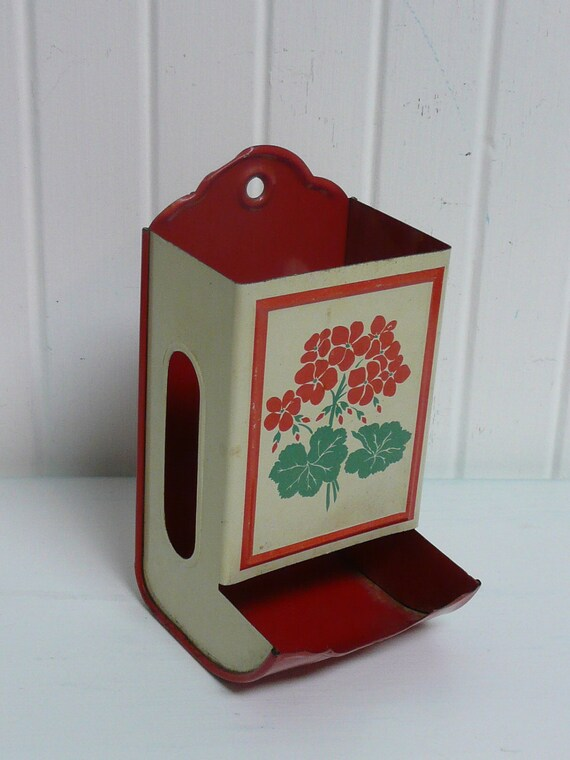 Vintage Tin Metal Match Box Holder Lovely Red With Red And