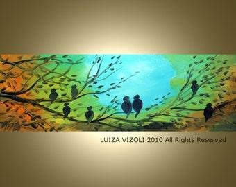 MORNING SERENADE Modern Fantasy Birds Landscape Large Print on 36x12 by Luiza Vizoli