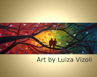 Modern Abstract Large Print on Canvas LOVEBIRDS AT SUNSET from original painting by Luiza Vizoli- ready to hang