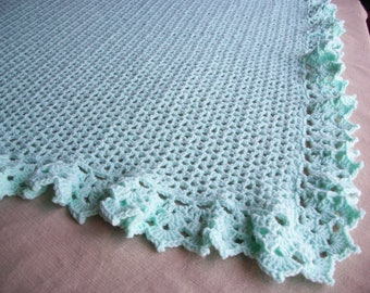 Baby/Child Blanket/Afghan Unisex Hand Crocheted Lace Border Pastel Green Yarn 40 Inches Square  READY TO SHIP