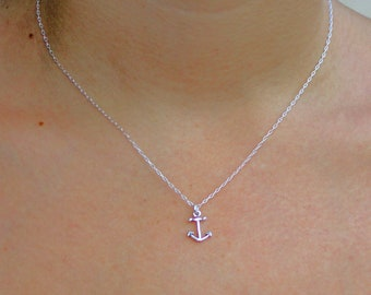 SEA OF LOVE - sterling silver petite anchor necklace