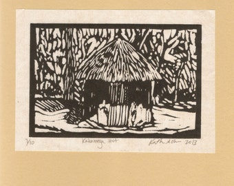 Handmade limited edition print of Kakamega Hut, Kenya