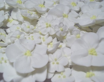 White royal icing flowers -- Three sizes -- Edible cake decorations cupcake toppers (24 pieces)