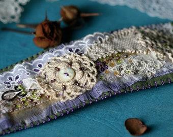 Rustic Assemblage  Les Jardins Textile  Cuff Bracelet - Vintage Lace Vintage Crochet  Allegoric, Romantic Festive Floral in Beije, Lavender
