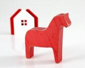 Scandinavian Dala horse wooden toy decor for Christmas, Red // Housewarming Gift // Christmas // stocking stuffer // FREE SHIPPING //