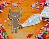 Gingerbread Cat with Candy Paper Cutout Collage Print
