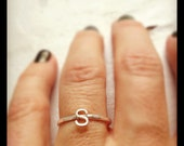 Perfect Wedding Bridesmaid Graduation Mother's Day Gift: One Initial Stacking Ring - Sterling Silver Hammered Band