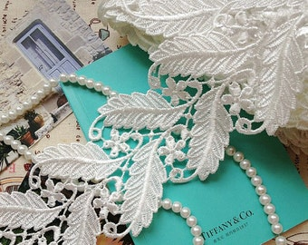 White Lace Trim Leaves Venice Lace Fabrics Vintage Grace Scollap Lace Supplies