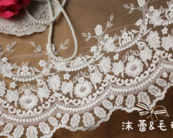 Off White Embroidered Lace Trim Bridal Lace Wedding Decors Supplies Florals Lace Fabrics