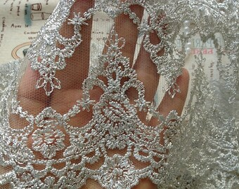 Silver Embroidery Lace Trim Luxury Vintage Style Bridal Lace Wedding Decors Lace Trim
