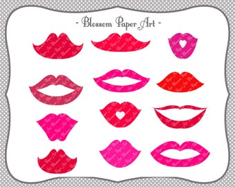 Lips - Digital Clipart - Printable - DIY Photo Booth Printables - Party Wedding Props - 1344