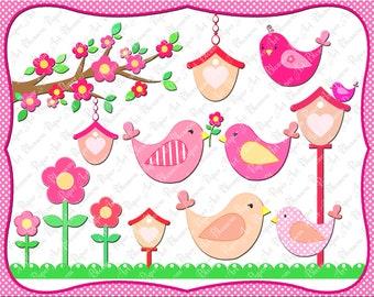 Digital Clipart - Birds - Birdhouses - Flowers - Pink - Tree - 300 dpi - 1356