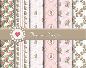 Wedding Digital Paper, Pink Wedding Roses Digital Scrapbooking Paper Pack, Shabby Chic Roses - Pink Flowers - 1576