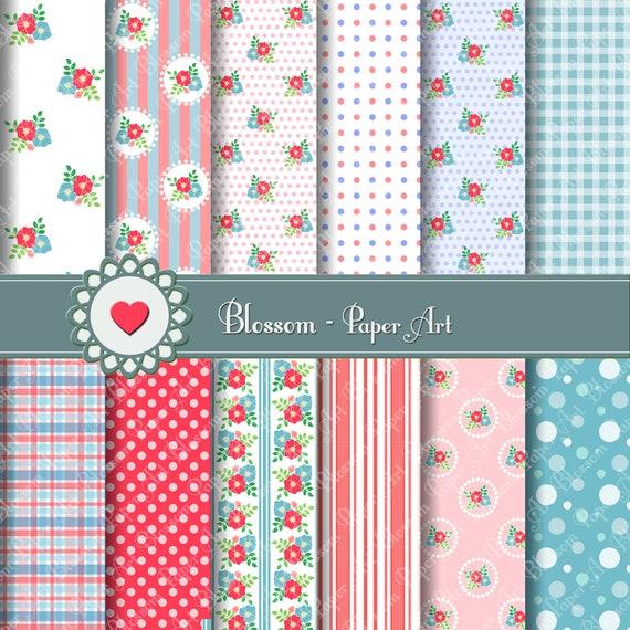 Papel para imprimir Bebes Rosa Celeste Flores por blossompaperart