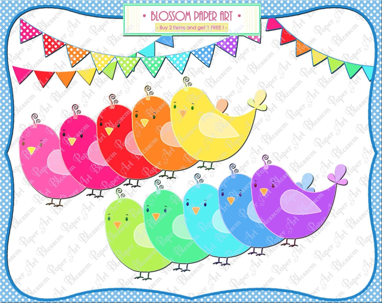 Scrapbook ideas rainbow - Birds Clipart Birds Bunting Printables Rainbow Scrapbook Digital Images 300dpi 1357
