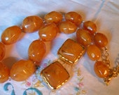 Vintage Joan Rivers Chunky BIG Butterscotch Swirl Lucite Bead Necklace Clip Earrings