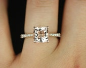 Taylor 8mm 14kt Rose Gold Cushion Morganite and Diamonds Cathedral Engagement Ring (Other metals and stone options available)