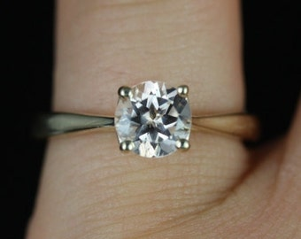 Flora 6mm 14kt Yellow Gold Round Morganite Tulip Cathedral Solitaire Engagement Ring (Other metals and stone options available)