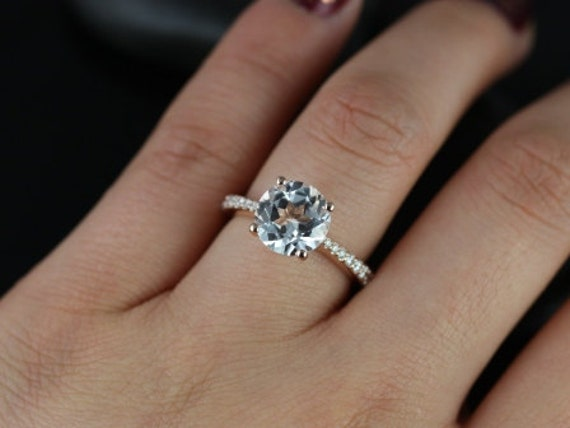 Taylor 9mm 14kt Rose Gold Round White Topaz and Diamond Cathedral Engagement  Ring (Other metals