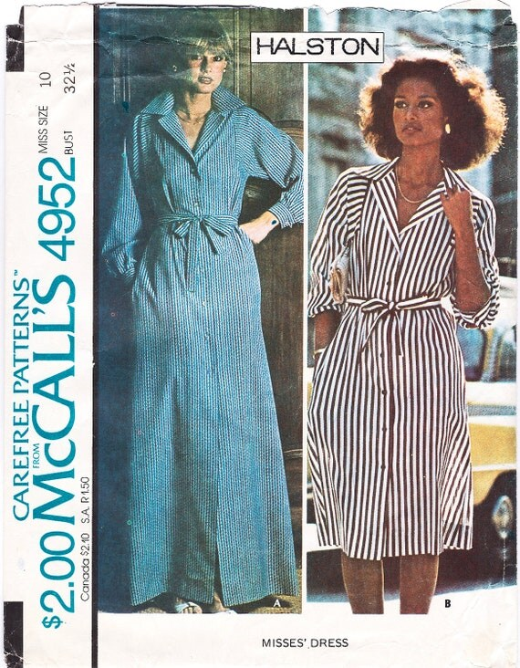 1970s Halston pattern featuring Beverly Johnson, McCall's 4952