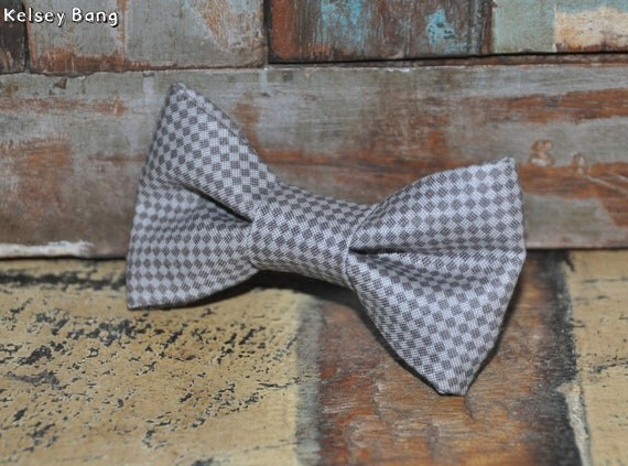 toddler easy clip on bow tie - gray and dark gray checkers