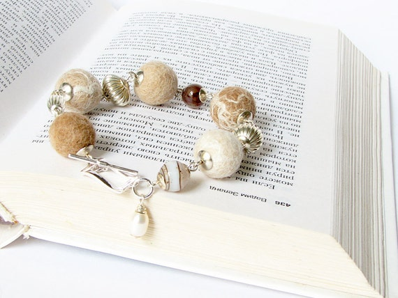 Jewelry, felted  bracelet, original design, cream and beige bracelet,  ready to ship