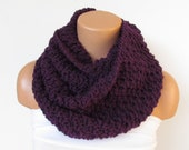 Hand Knitted Infinity Loop  Scarf,Neckwarmer,Purple Circle Scarf,Cowl, Winter Accessories, Fall Fashion,Holiday Accossories,Chunky Scarf.